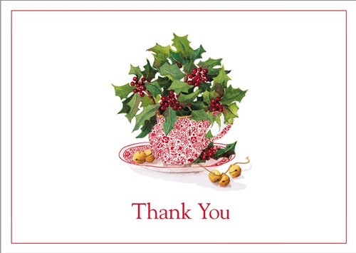 Caspari Thank You Note Cards Boxed Set of 8 Christmas Tea Cup