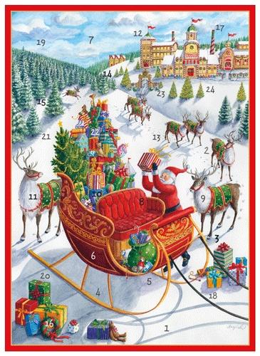 Caspari Christmas Advent Calendar Card - Santas Sleigh