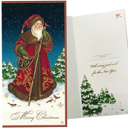 Caspari Single Christmas Gift Card Money Holder Father Christmas ...