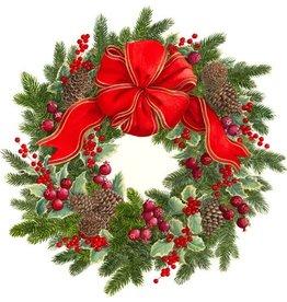 Caspari Christmas Placemats Die Cut 3037PM Evergreen Wreath Set of 4