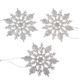 Darice Glittered Snowflakes Ornaments 4 inch 10-Pack Pearl-White
