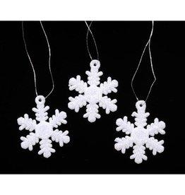 Darice Glittered Snowflakes Mini Ornaments 1.25 inch 6-Pack White