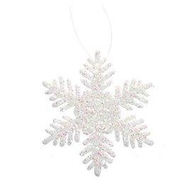 Darice Mini Glittered Snowflakes Ornaments 2 inch 12-Pack Pearl-White
