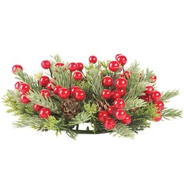 Darice Christmas Candle Ring for 3 in Pillar Mini Wreath Pine Berry