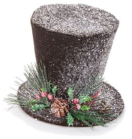 Darice Christmas Snowman Top Hat Table Decoration 7 inch Black