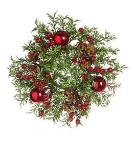 Darice Christmas Candle Ring for 3in Pillar Mini Wreath Green Red