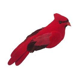 Darice Christmas Red Cardinal Velvet Bird Clip Ornament 4.3 inch