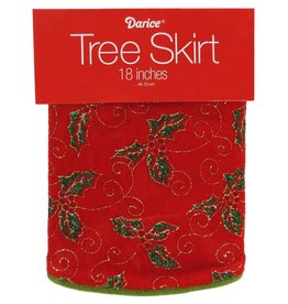 Darice Mini Christmas Tree Skirt 18D Inch Holly Leaves Red Green Gold