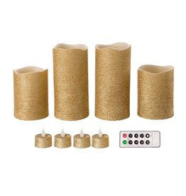 Darice LED Gold Glitter Flameless Wax Pillar Candle Set 9Pk w Remote