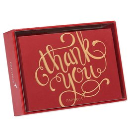 Papyrus Greetings Boxed Cards Thank You Gold Foil on Red 12pk