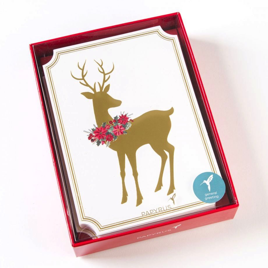 papyrus greetings boxed christmas cards sonata reindeer w wreath 14pk