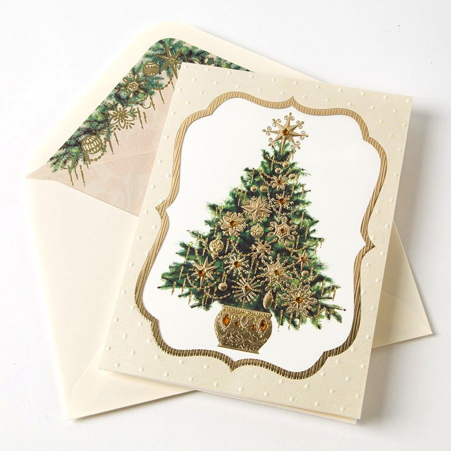 Papyrus Greetings Boxed Christmas Cards Handmade Christmas Tree in ...