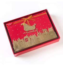 Papyrus Greetings Boxed Christmas Cards Handmade Glittered Sleigh 8pk