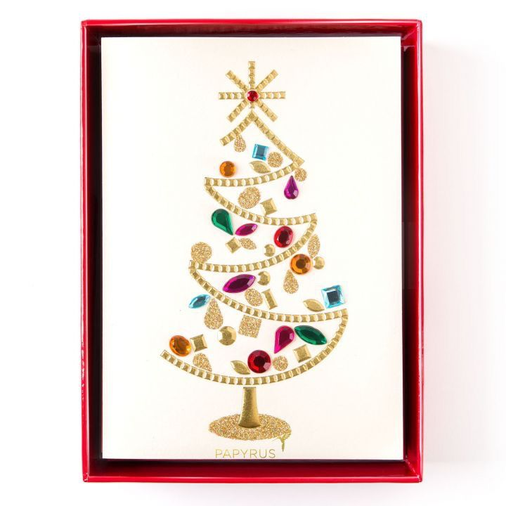 papyrus greetings boxed christmas cards glamorous gem tree 8pk