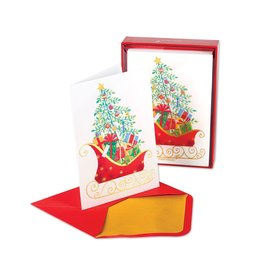 Papyrus Greetings Boxed Christmas Cards Sleigh w Tree and Presents 14pk