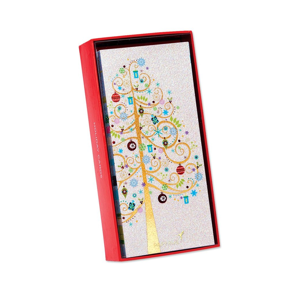 papyrus greetings boxed christmas cards whimisical tree w gifts 16pk