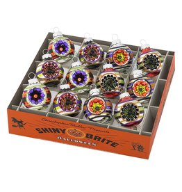 Christopher Radko Shiny Brite Halloween Ornaments Reflector Rounds 12pc