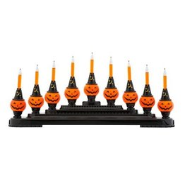 Christopher Radko Shiny Brite Halloween 9 Bubble Light Pumpkin Candolier