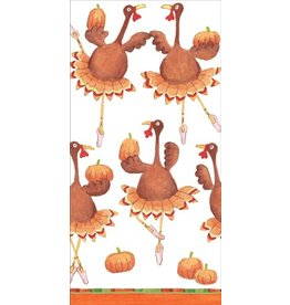 Caspari Fall Thanksgiving Paper Facial Tissues Turkey Troupe Hankies 10pk