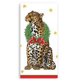 Caspari Paper Facial Tissues Wild Christmas Leopard Hankies 10pk
