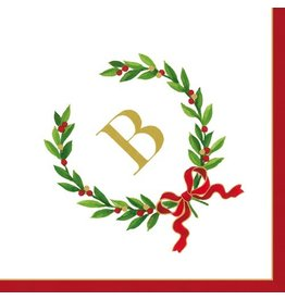 Caspari Christmas Monogram Initial B Paper Cocktail Napkins 20pk