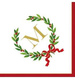 Caspari Christmas Monogram Initial M Paper Cocktail Napkins 20pk