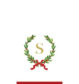 Caspari Christmas Monogram Initial S Paper Guest Napkins 20pk