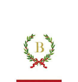 Caspari Christmas Monogram Initial B Paper Guest Napkins 20pk