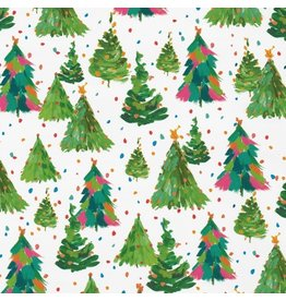 Caspari Christmas Gift Wrapping Paper Roll 8ft Brushstrokes Trees