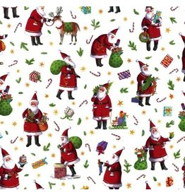 Caspari Christmas Gift Wrapping Paper Roll 8ft 9577RC Busy Santa