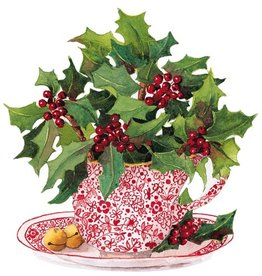 Caspari Christmas Gift Tags 4pk - Christmas Tea Ornament