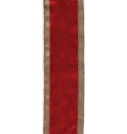 Caspari Ribbon  R714 Solid Red w Gold Edge Ribbon 9 yrds