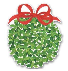 Caspari Christmas Gift Tags 4pk - Boxwood Ball w Red Bow Ornament