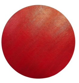 Caspari Placemats Round Felt Backed - Crimson Snakeskin