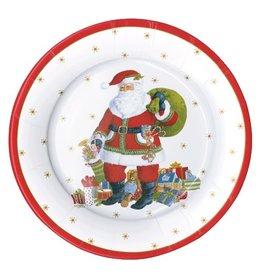 Caspari Christmas Paper Salad-Dessert Plates 8pk Santa Claus Lane
