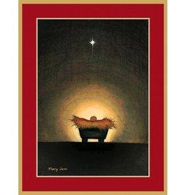 Caspari Caspari Boxed Christmas Cards 16pk Star and Creche