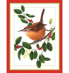 Caspari Caspari Boxed Christmas Cards 16pk Wren Bird on Branch