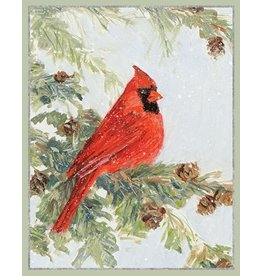 Caspari Boxed Christmas Cards Set of 16 Cardinal in Pine Tree