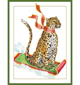 Caspari Boxed Christmas Cards 16pk Sledding Leopard