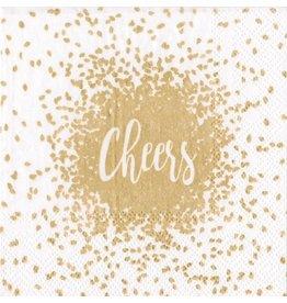 Caspari Christmas Paper Cocktail Napkins 20pk Cheers Gold