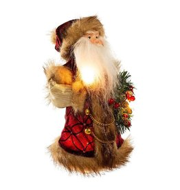 Kurt Adler Christmas Santa Tree Topper Burgundy w Brown 10 inch
