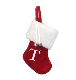Kurt Adler Mini Red Monogrammed Christmas Stocking w Initial Letter T