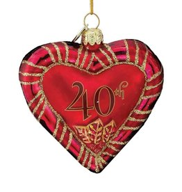 Kurt Adler Noble Gems Glass 40th Anniversary Heart Ornament