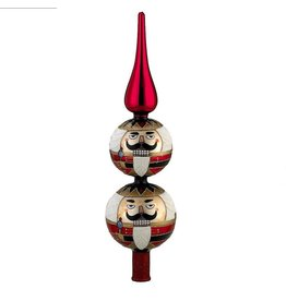 Kurt Adler Christmas Tree Topper Glass Finial Nutcracker 13 inch