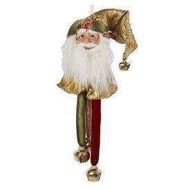Kurt Adler Santa Head-Santa Face Christmas Ornament w Bells J5925-B