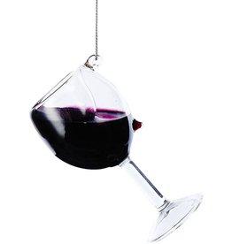 Kurt Adler Glass Wine Glass Ornament D2991-RE Red Wine 4 inch