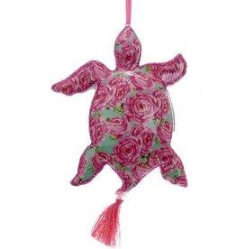 Kurt Adler Sea Turtle Porcelain Ornament w Tropical Decal and Tassel -PK