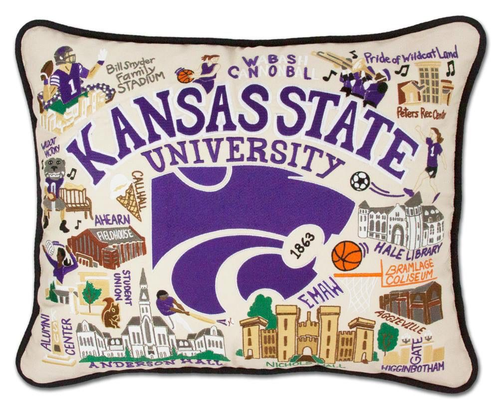 CatStudio K-State Embroidered Pillow