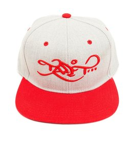 TALL T PRODUCTIONS TALL T PRODUCTION SNAPBACK HAT LOGO LIGHT GREY/RED