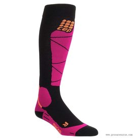 CEP CEP COMPRESSION MERINO SKI SOCKS WOMENS BLACK/PINK